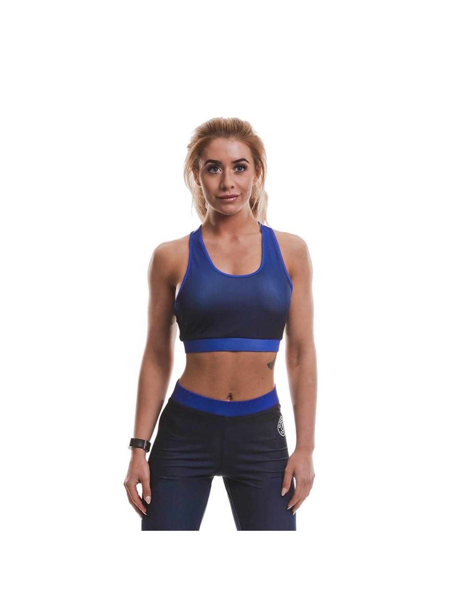 Gold's Gym Ladies Gradient Sublimated Sports Crop Top - Blue