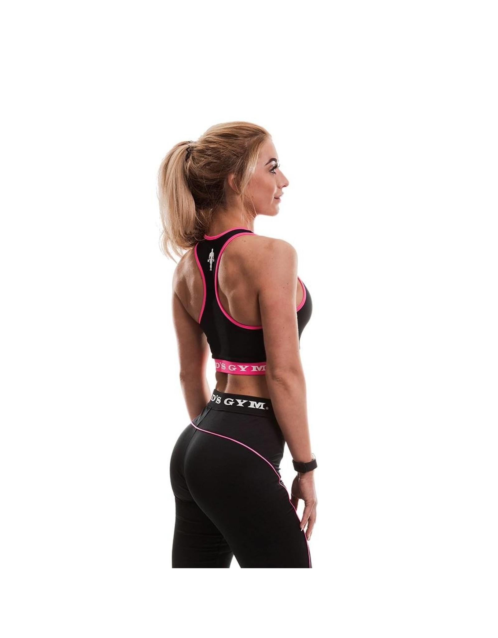 Gold's Gym Ladies Sports Crop Top - Black/Pink