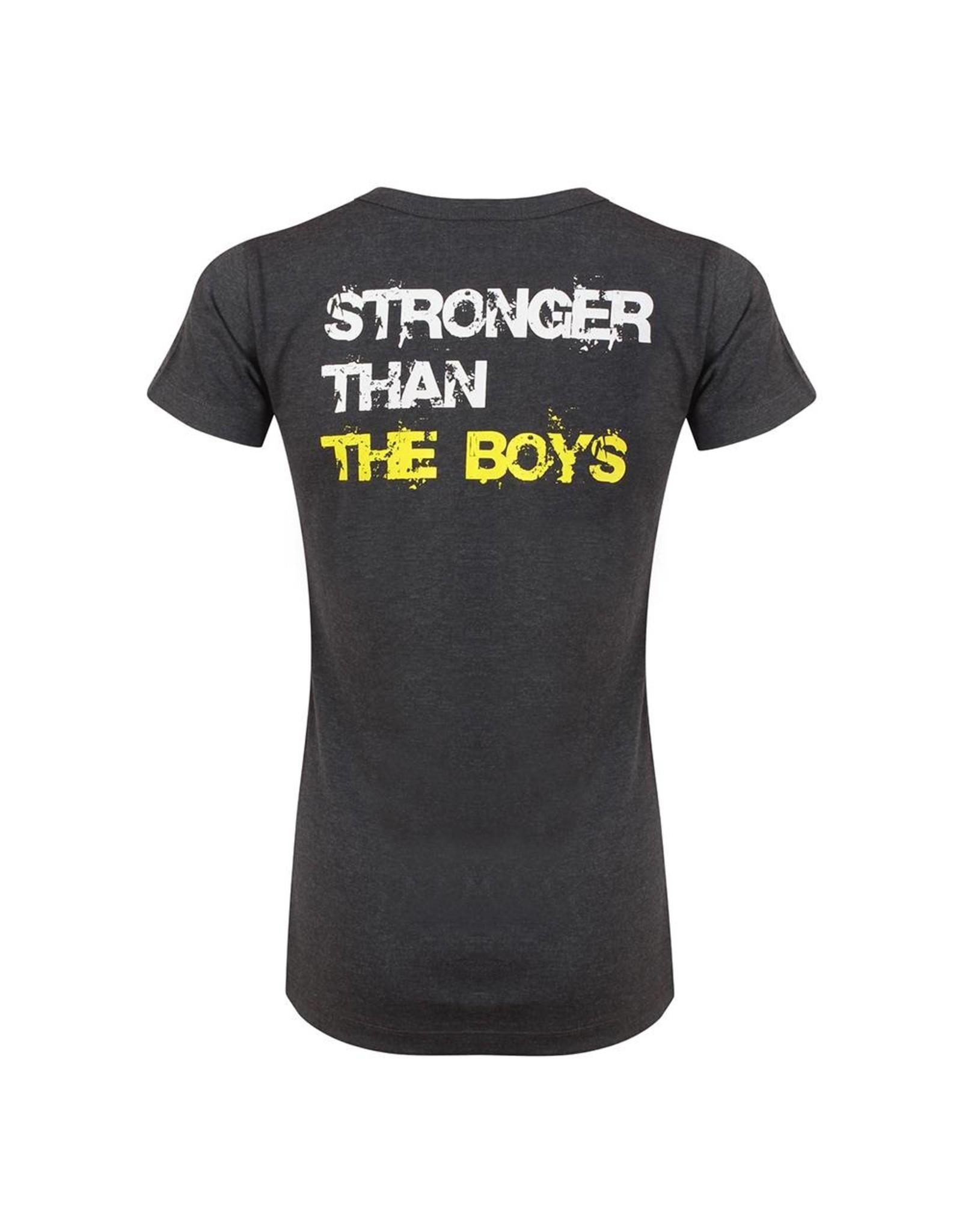 Gold's Gym Slogan T-shirt Stronger Than The Boys - Grey