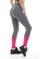 Gold's Gym Lady Seamless Leggings - Pink/Charcoal Marl