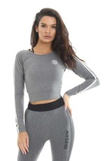 Gold's Gym Ladies Cropped Sweater - Grey Marl