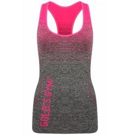Gold's Gym Ladies Seamless Vest Top - Pink/Grey Marl