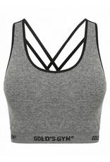 Gold's Gym Ladies Seamless Crop Top - Grey Marl/Black