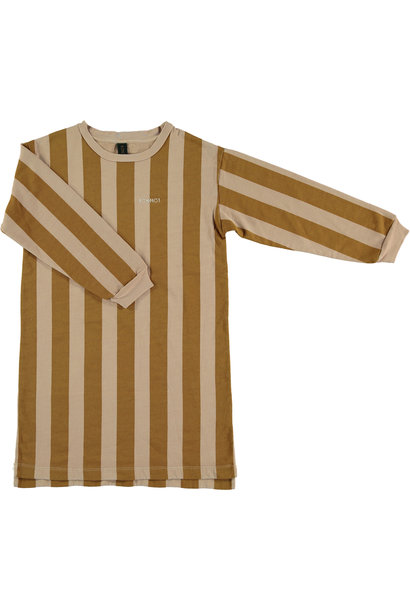 Fleece dress wide stripe - Maple Sugar