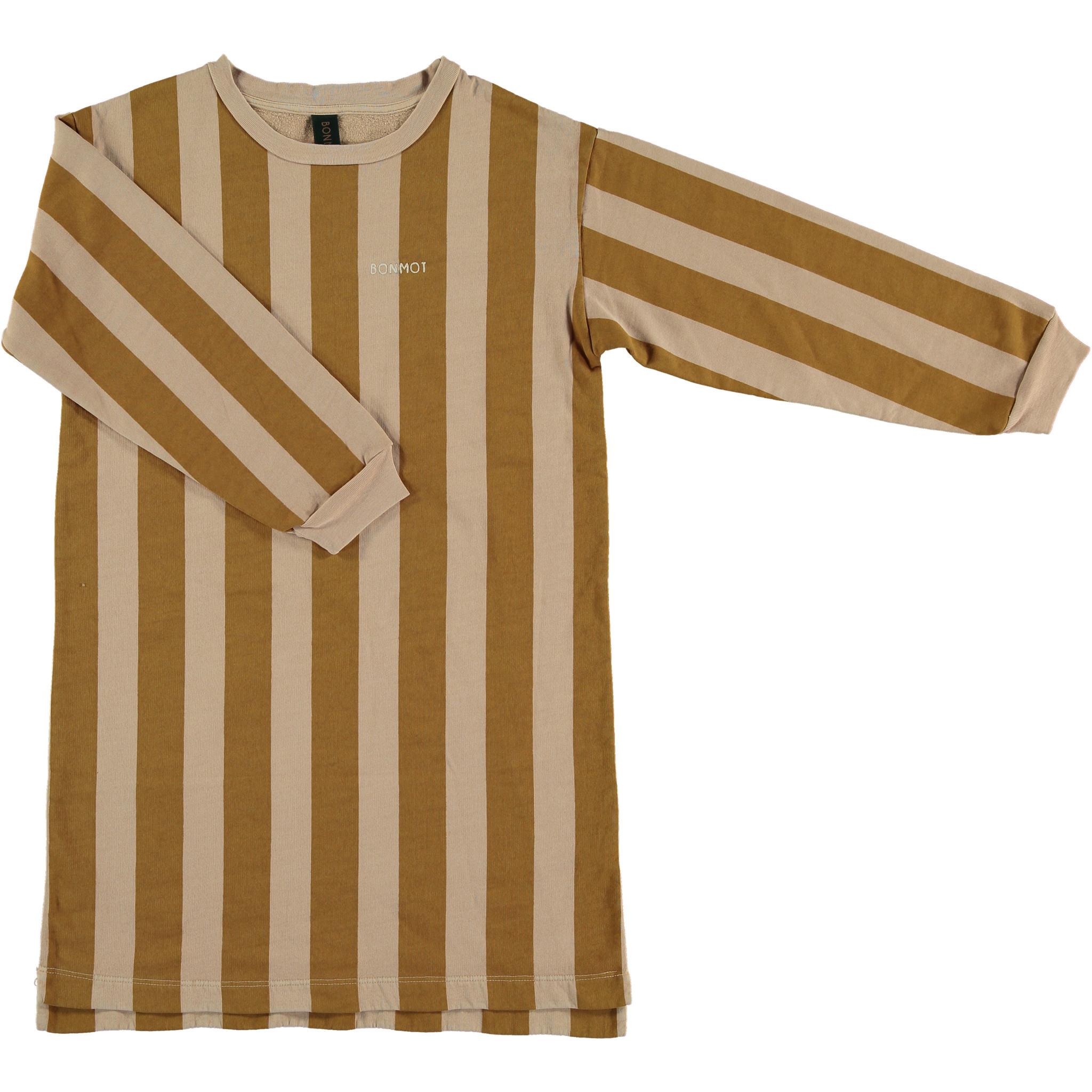 Fleece dress wide stripe - Maple Sugar-1