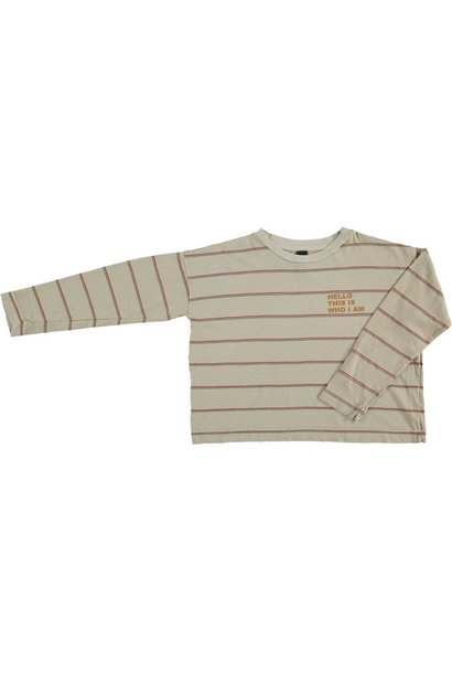 Relax long sleeved t-shirt double stripe - Mushroom