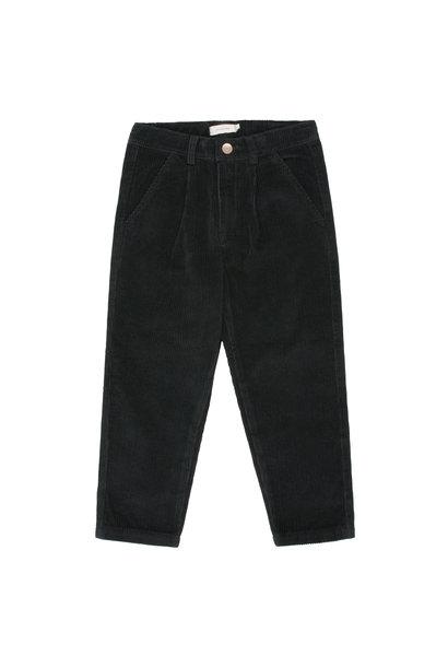 CORD PLEATED PANT - Black