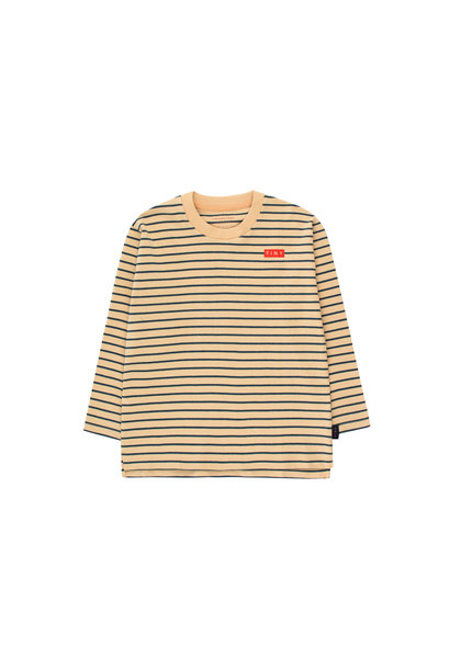 STRIPES LS TEE - Sand / True Navy