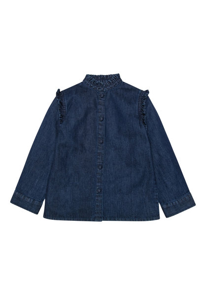 Bella denim blouse with frill