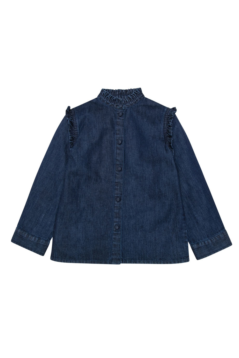 Bella denim blouse with frill-1