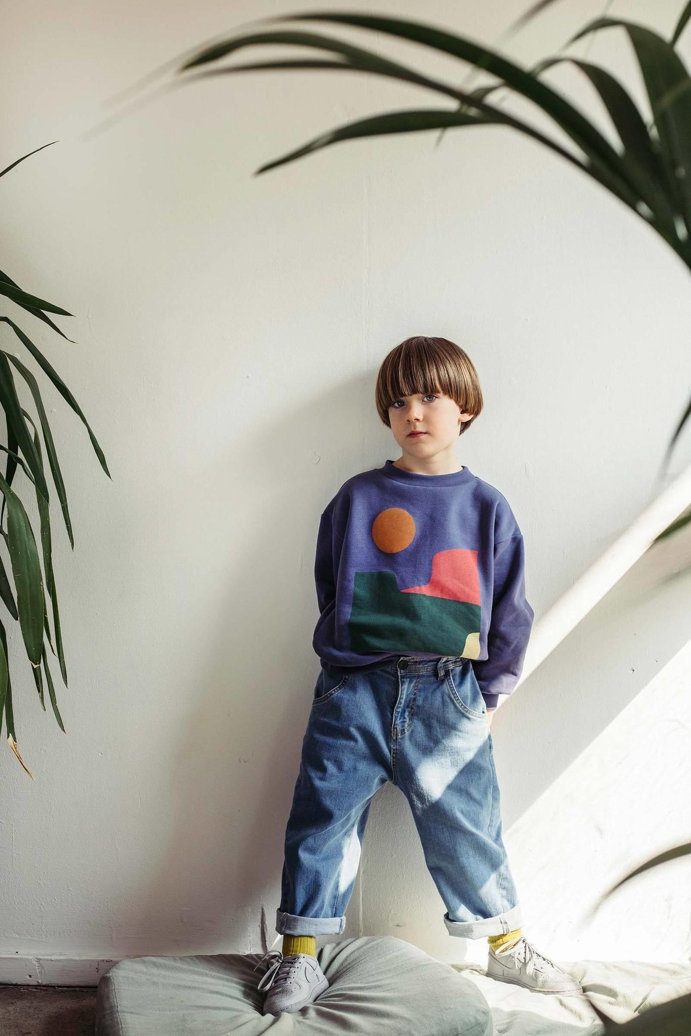 Balloon sweatshirt - Vintage Indigo Landscape-2