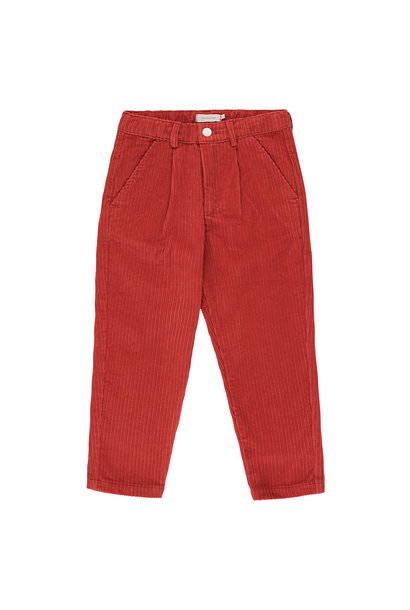 CORD PLEATED PANT - Burgundy