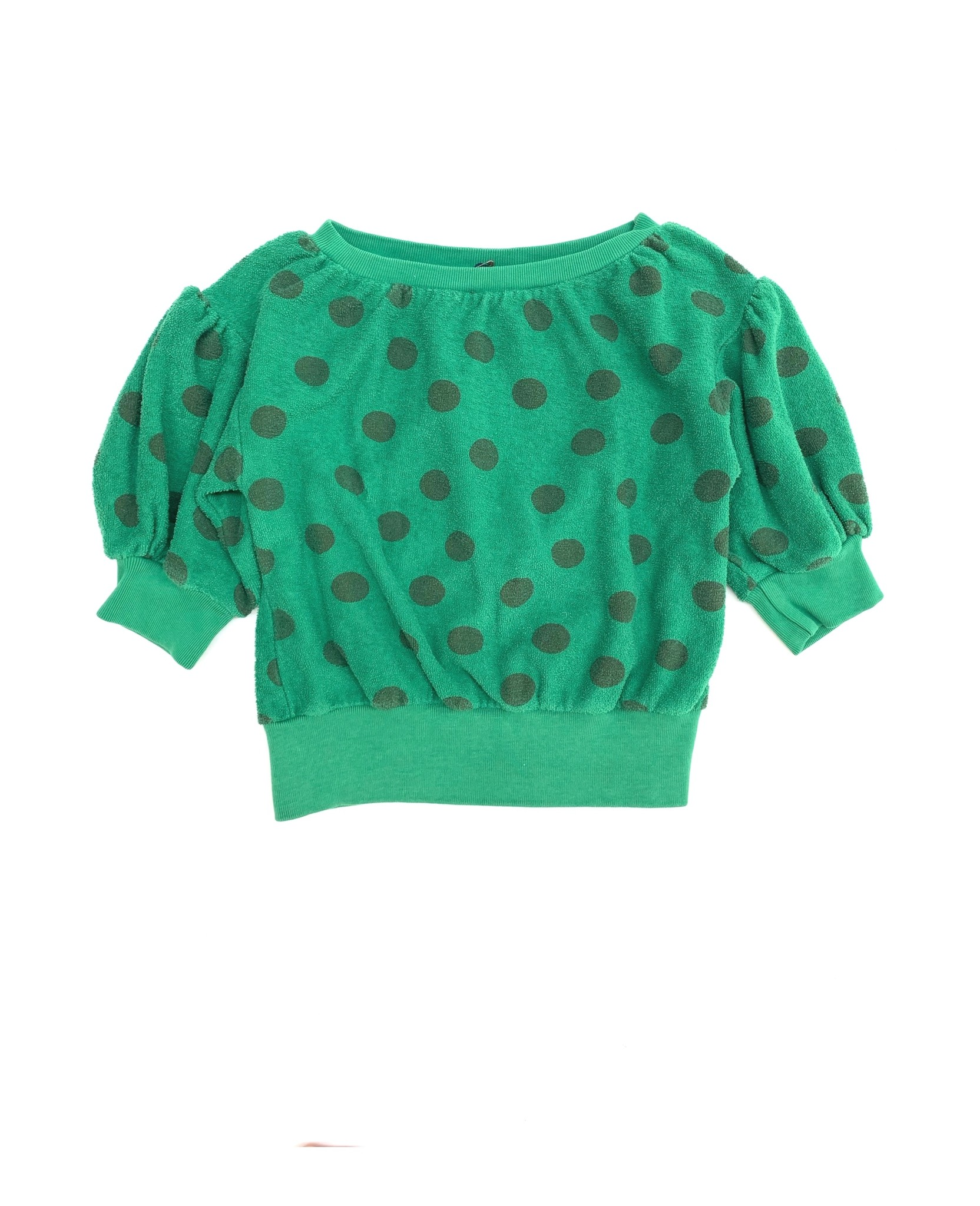 Terry s/s sweater - Green dots-1