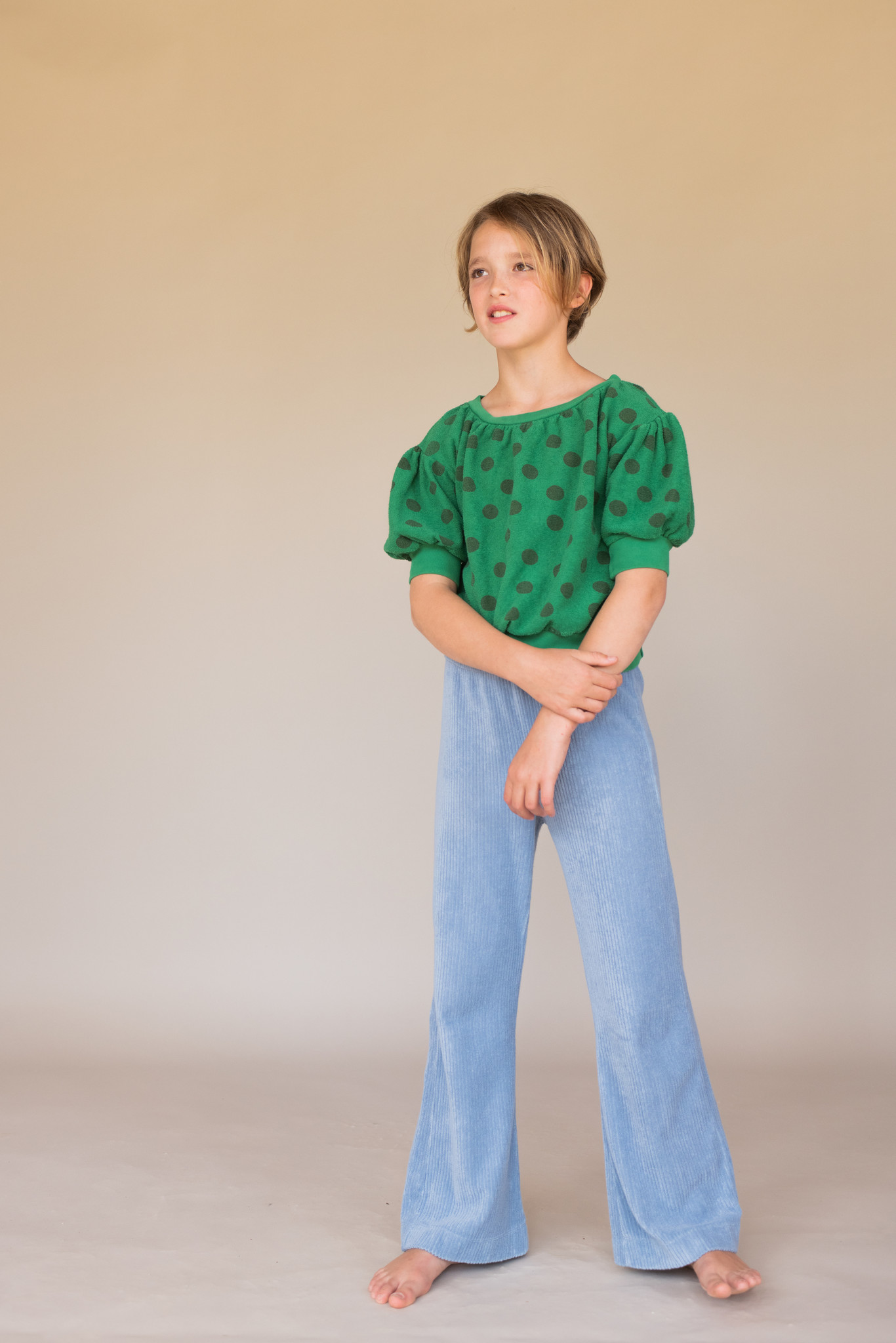 Terry s/s sweater - Green dots-2