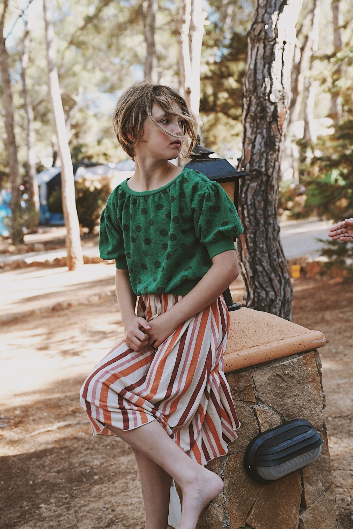 Terry s/s sweater - Green dots-3