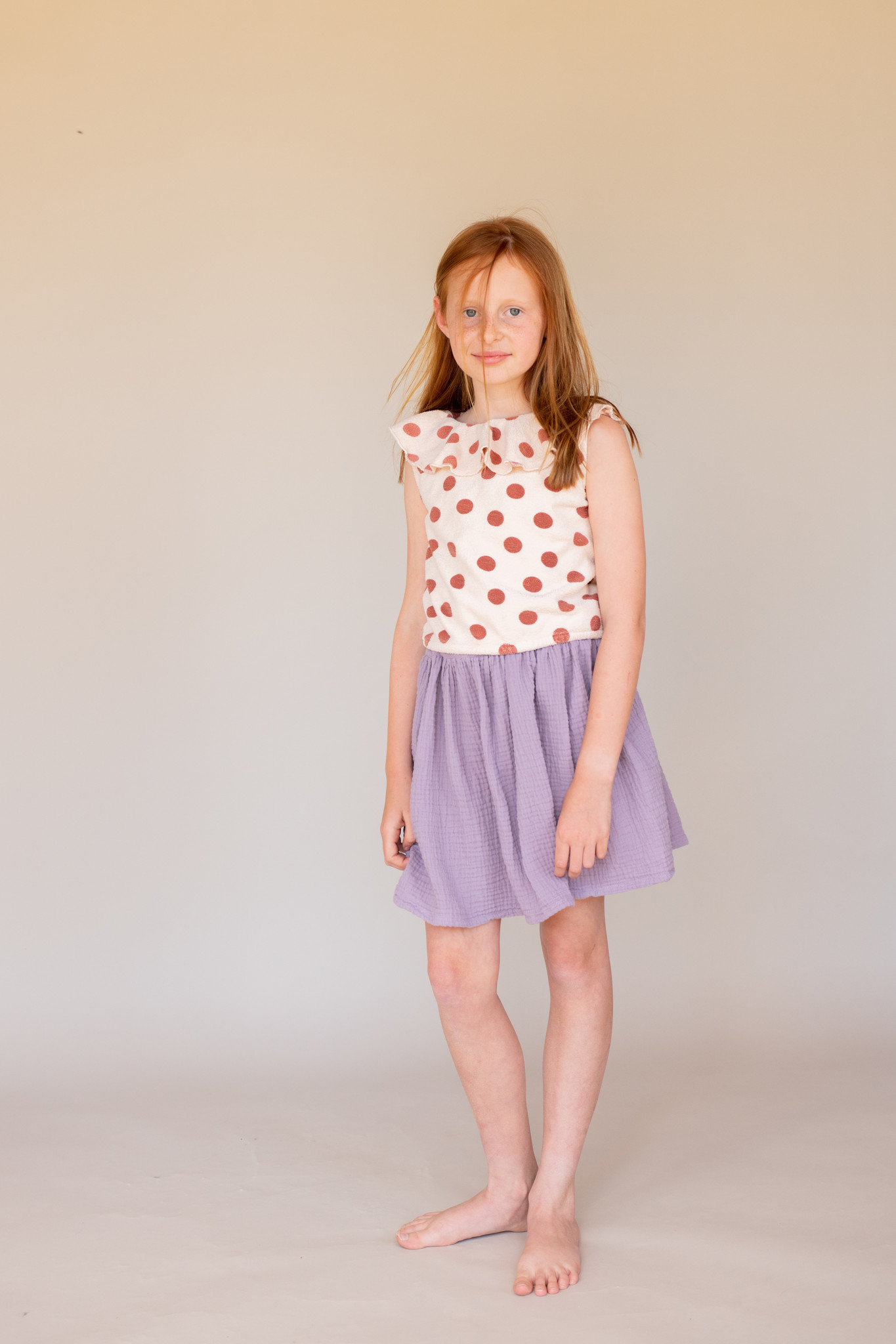 Terry top - Brown dots-2