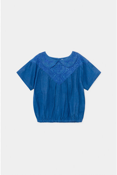 Embroidery Short Sleeve Blouse