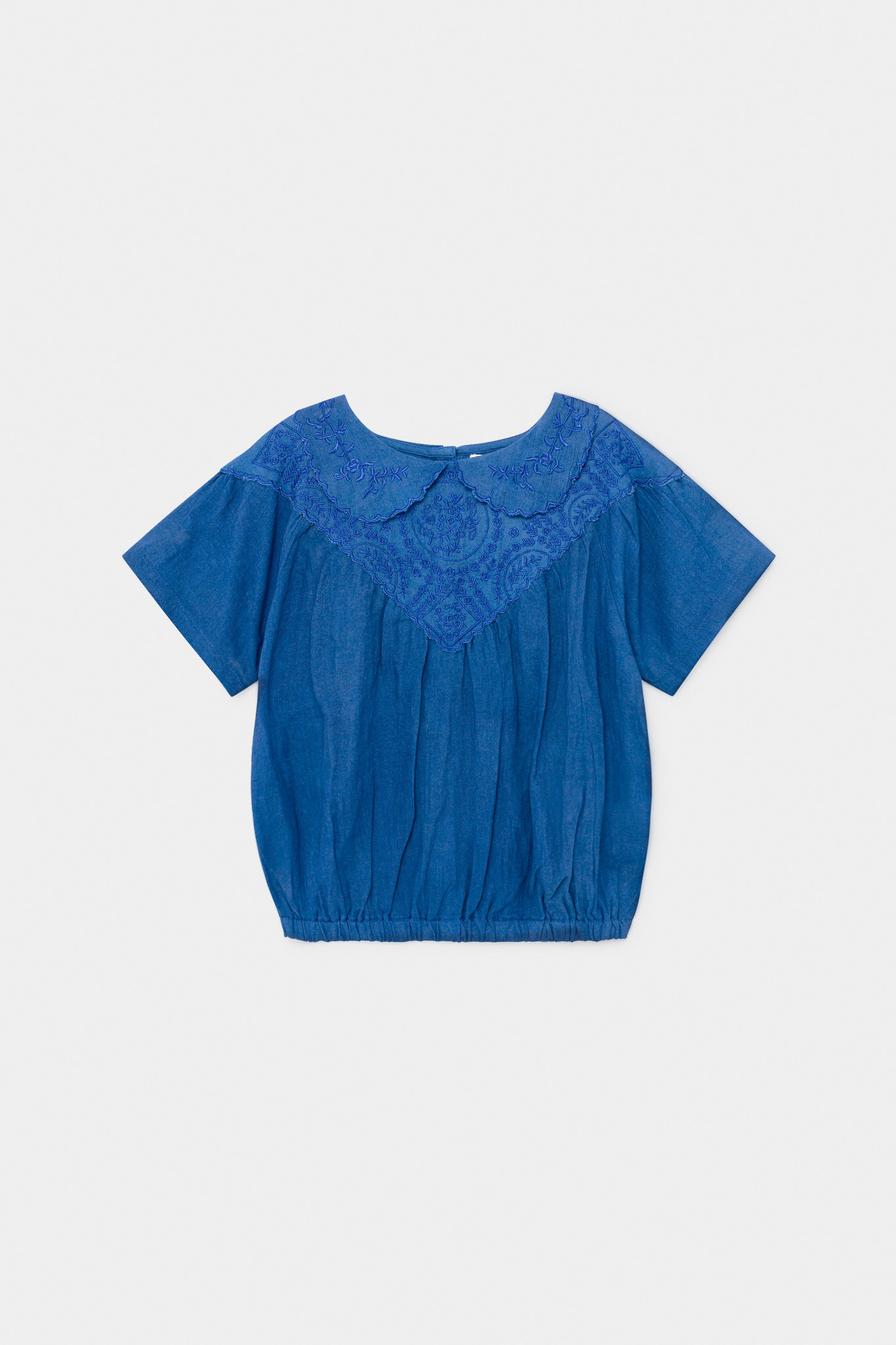 Embroidery Short Sleeve Blouse-1