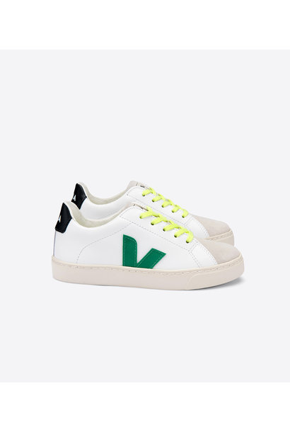 Esplar Lace Junior - Leather Extra White Emeraude Jauno Fluo