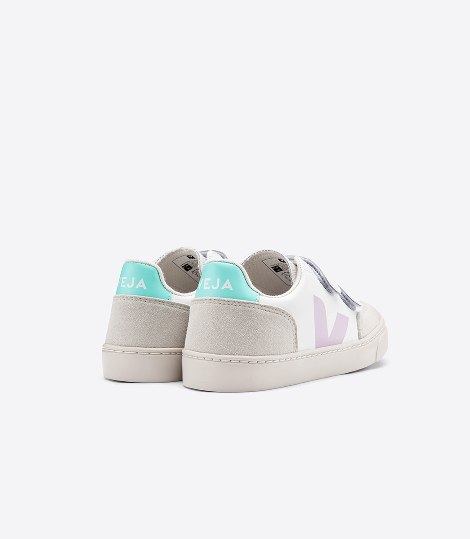 V12 Velcro Junior - Leather Extra White Parme Turquoise-2