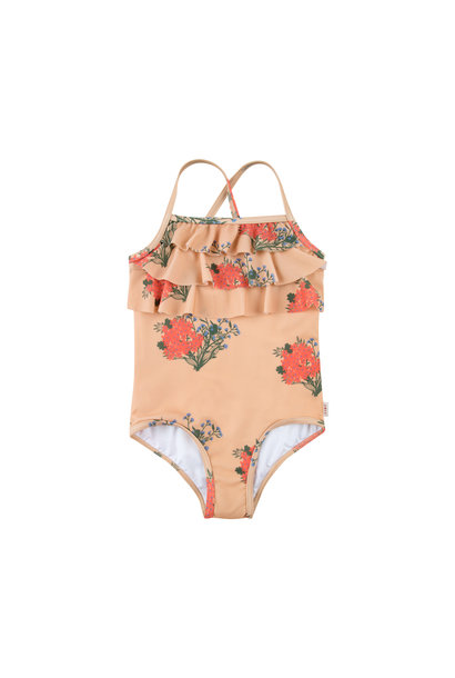 FLOWERS SWIMSUIT - Toffee / Red