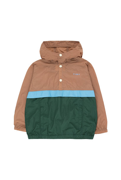 COLOR BLOCK PULLOVER - Tan / Olive Dark Green