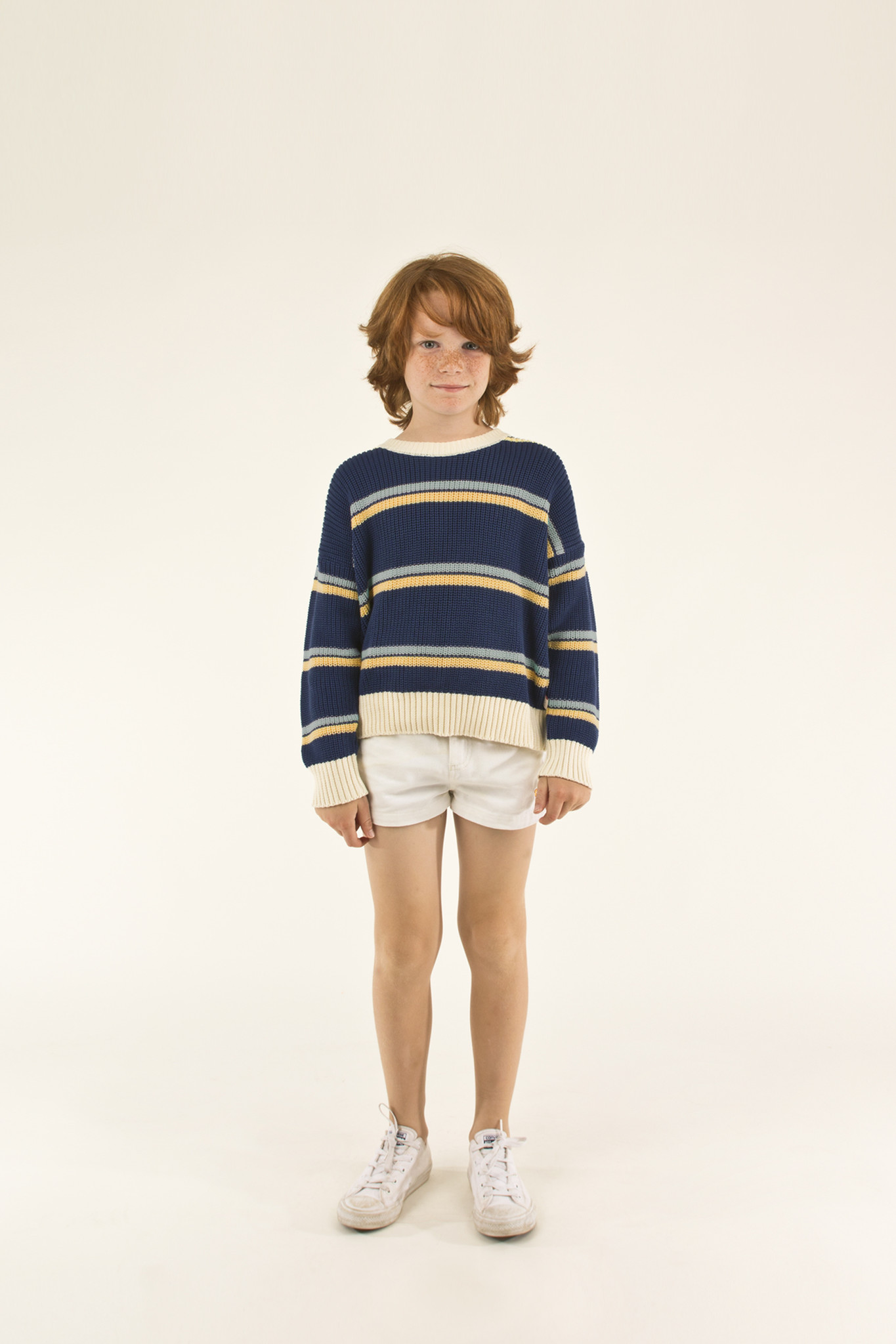 STRIPES SWEATER - Light Navy / Yellow / Sea Green-2