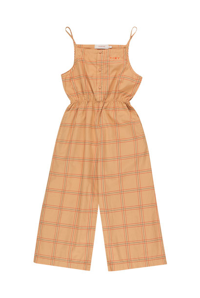 CHECK JUMPSUIT - Toffee / Red