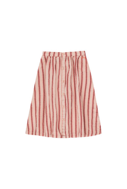 RETRO STRIPES MIDI SKIRT - Light Nude / Dark Brown