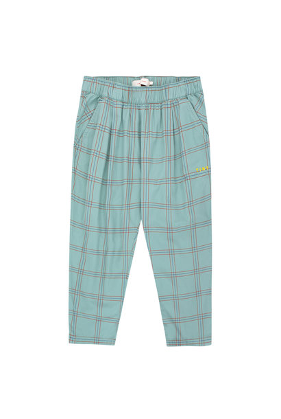 CHECK PLEATED PANT - Sea Green / Red