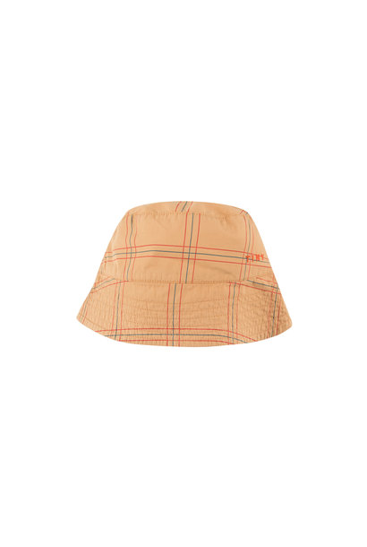 CHECK BUCKET HAT - Toffee / Red
