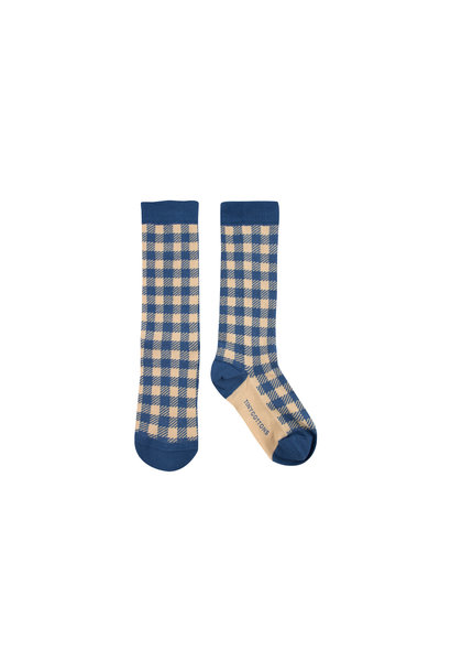 VICHY HIGH SOCKS - Summer Navy / Cappuccino