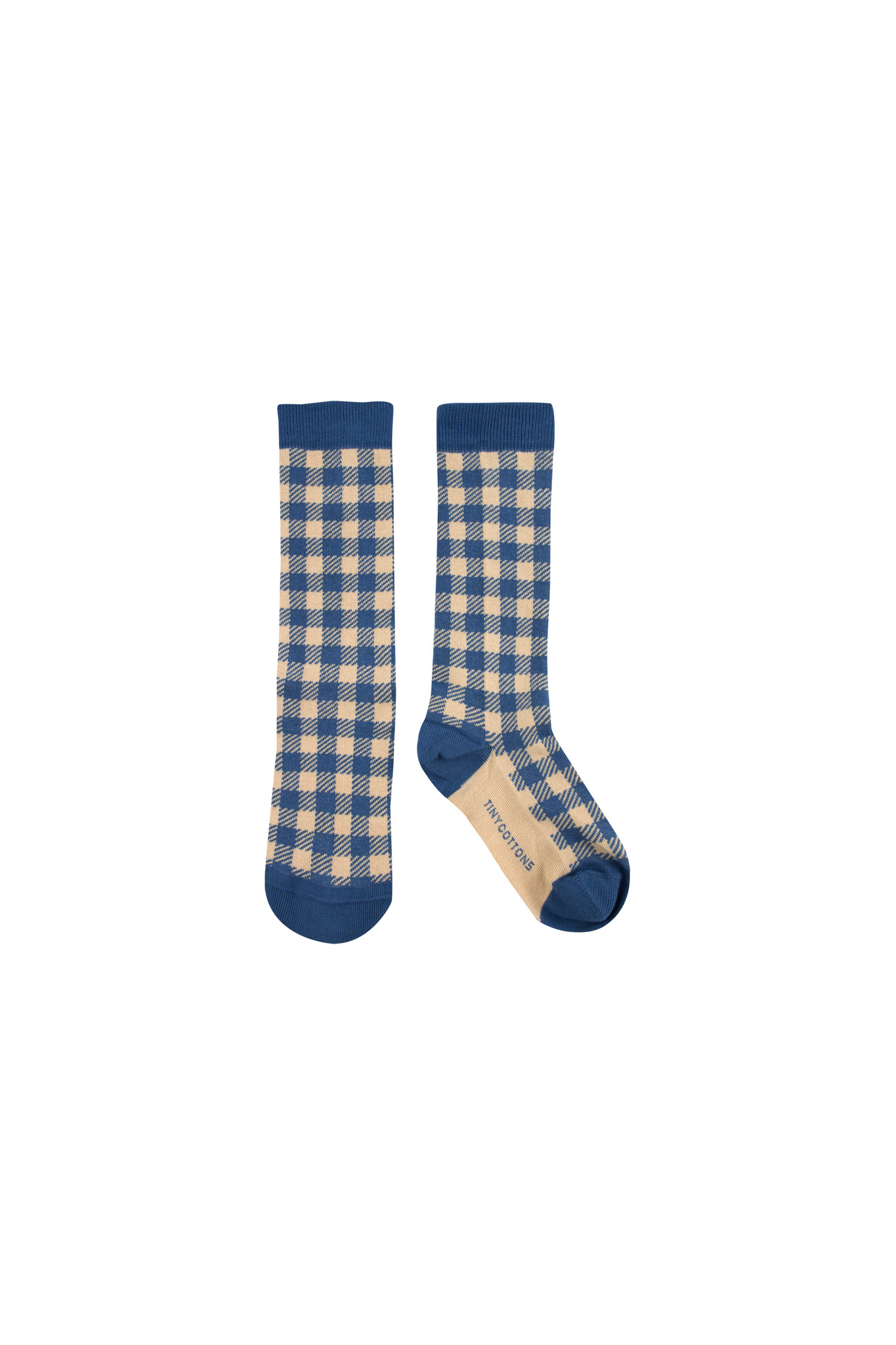 VICHY HIGH SOCKS - Summer Navy / Cappuccino-1