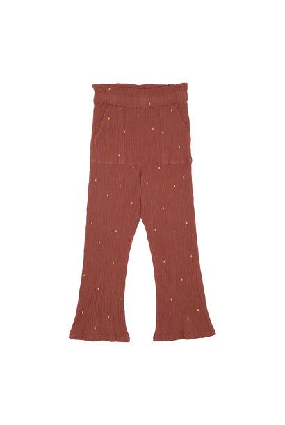 Francine pants - Cinnabar / AOP Dotty emb.