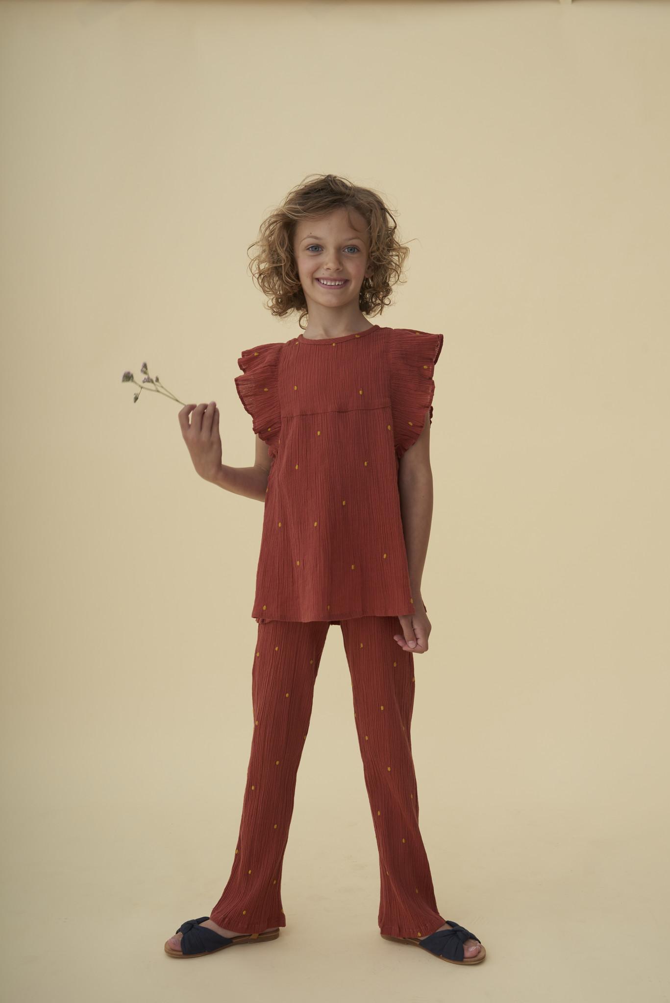 Francine pants - Cinnabar / AOP Dotty emb.-2