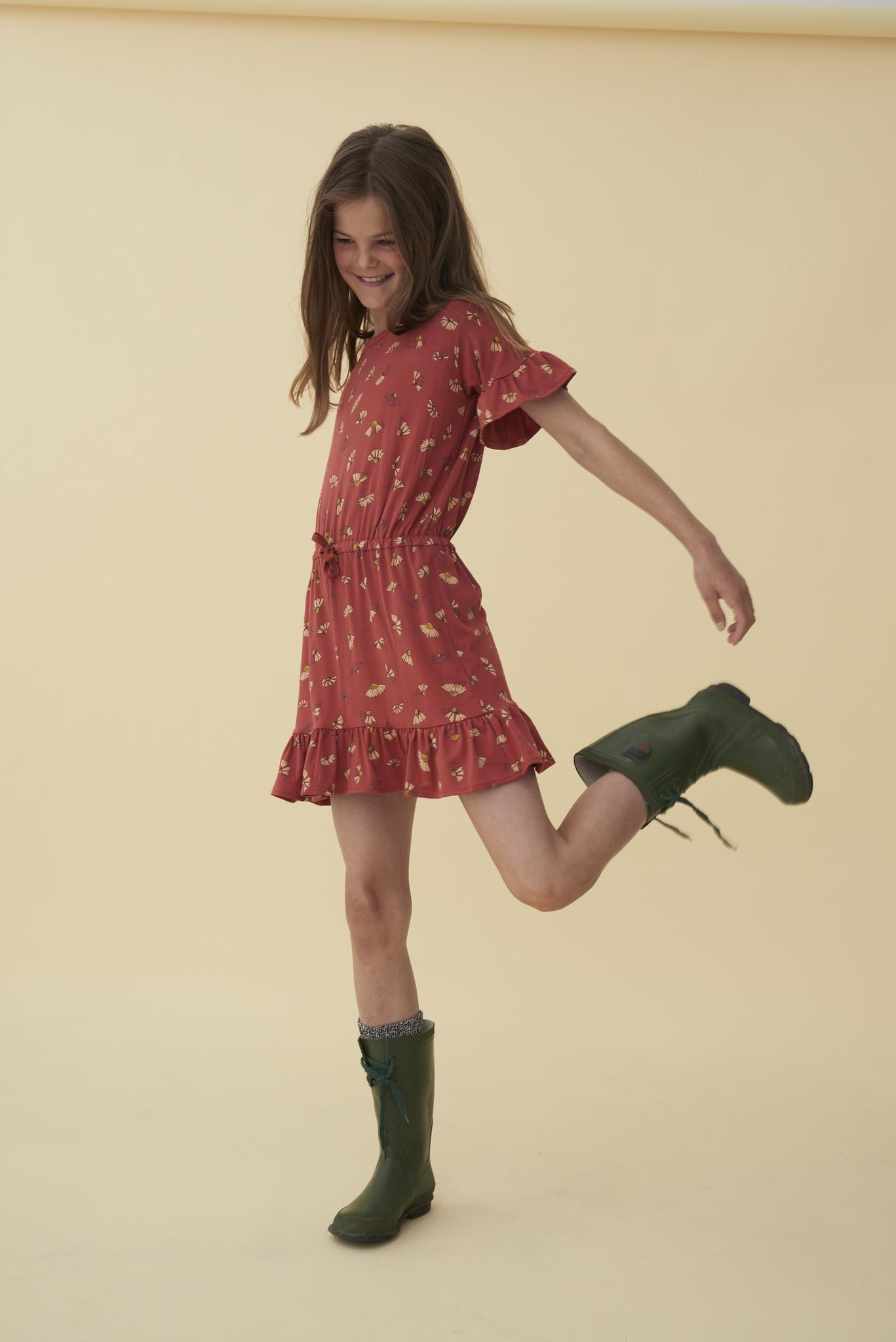 Danica dress - Burnt Brick / AOP Camomile-2