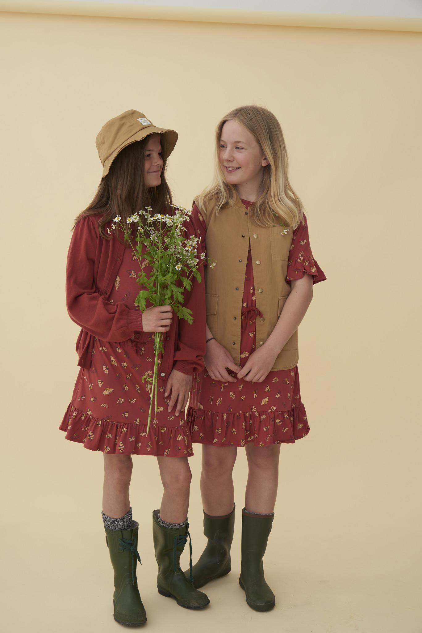 Danica dress - Burnt Brick / AOP Camomile-4