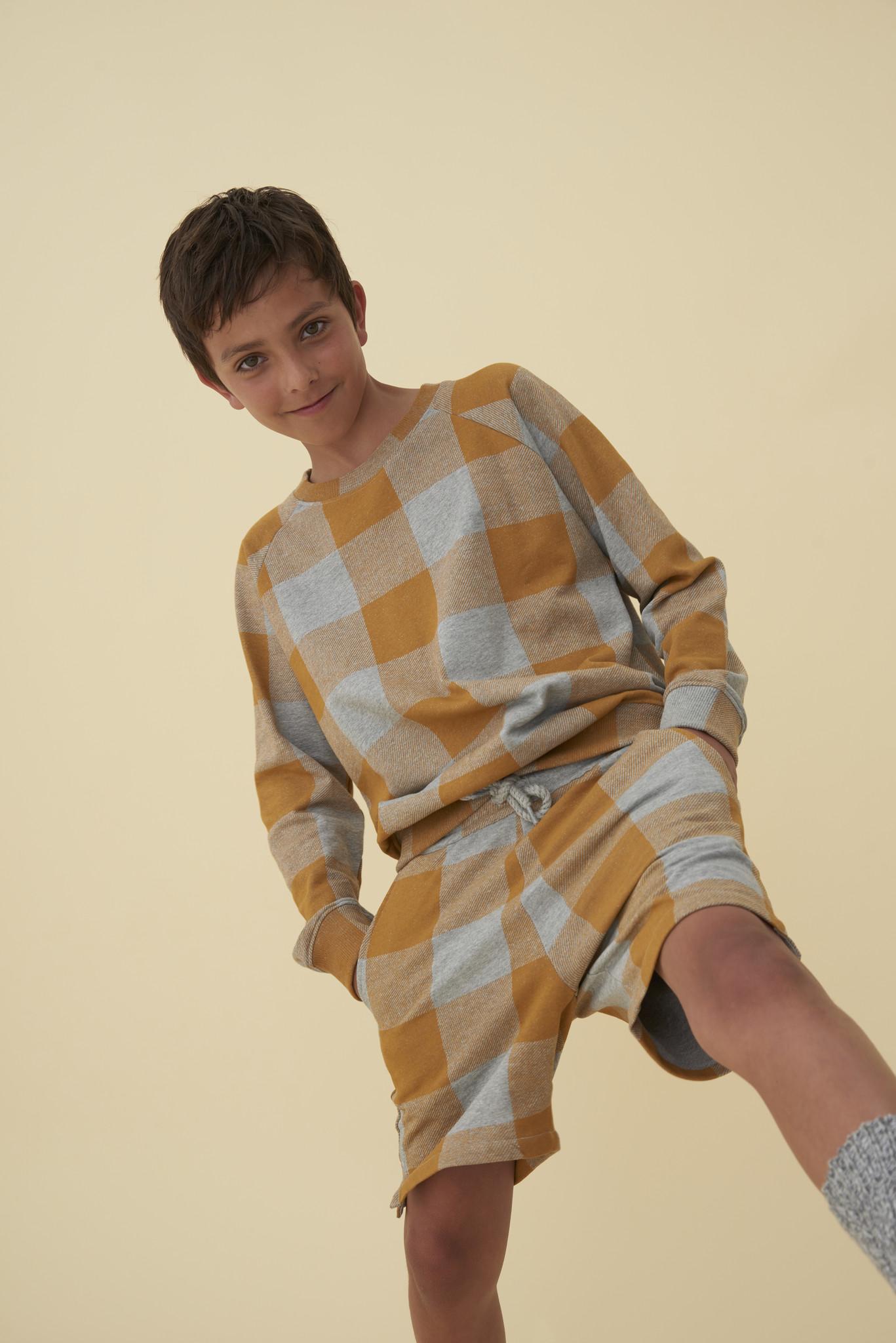 Chaz sweatshirt - Grey Melange / AOP Plaid-2