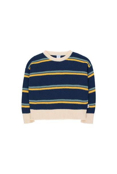 STRIPES SWEATER - Light Navy / Yellow / Sea Green