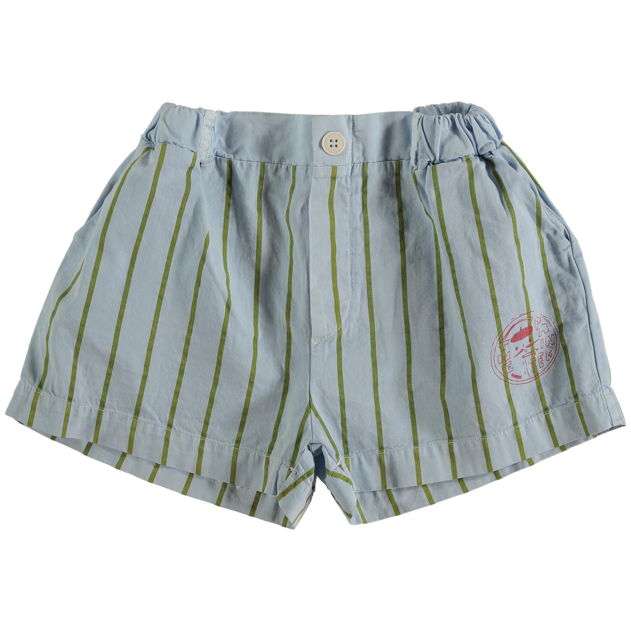 Short button thin stripes - Light Blue-1