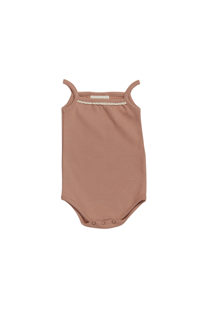 Body straps with lace soft rib - Toffee Blush