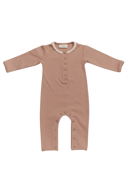 Baby jumpsuit with lace - Toffee Blush