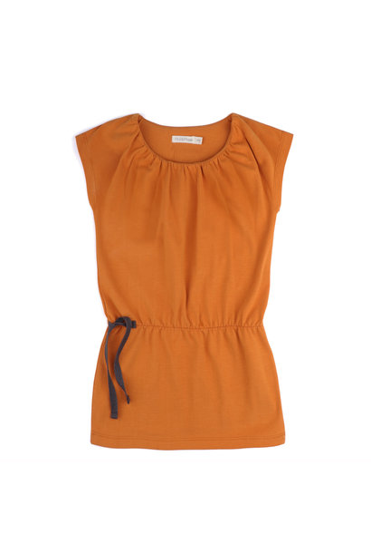 Gathered blouson dress - Tangerine
