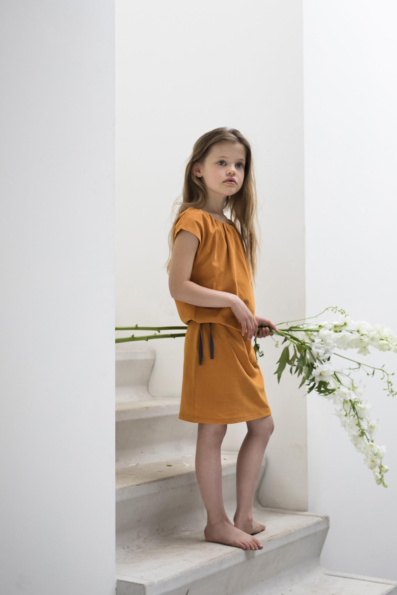 Gathered blouson dress - Tangerine-2