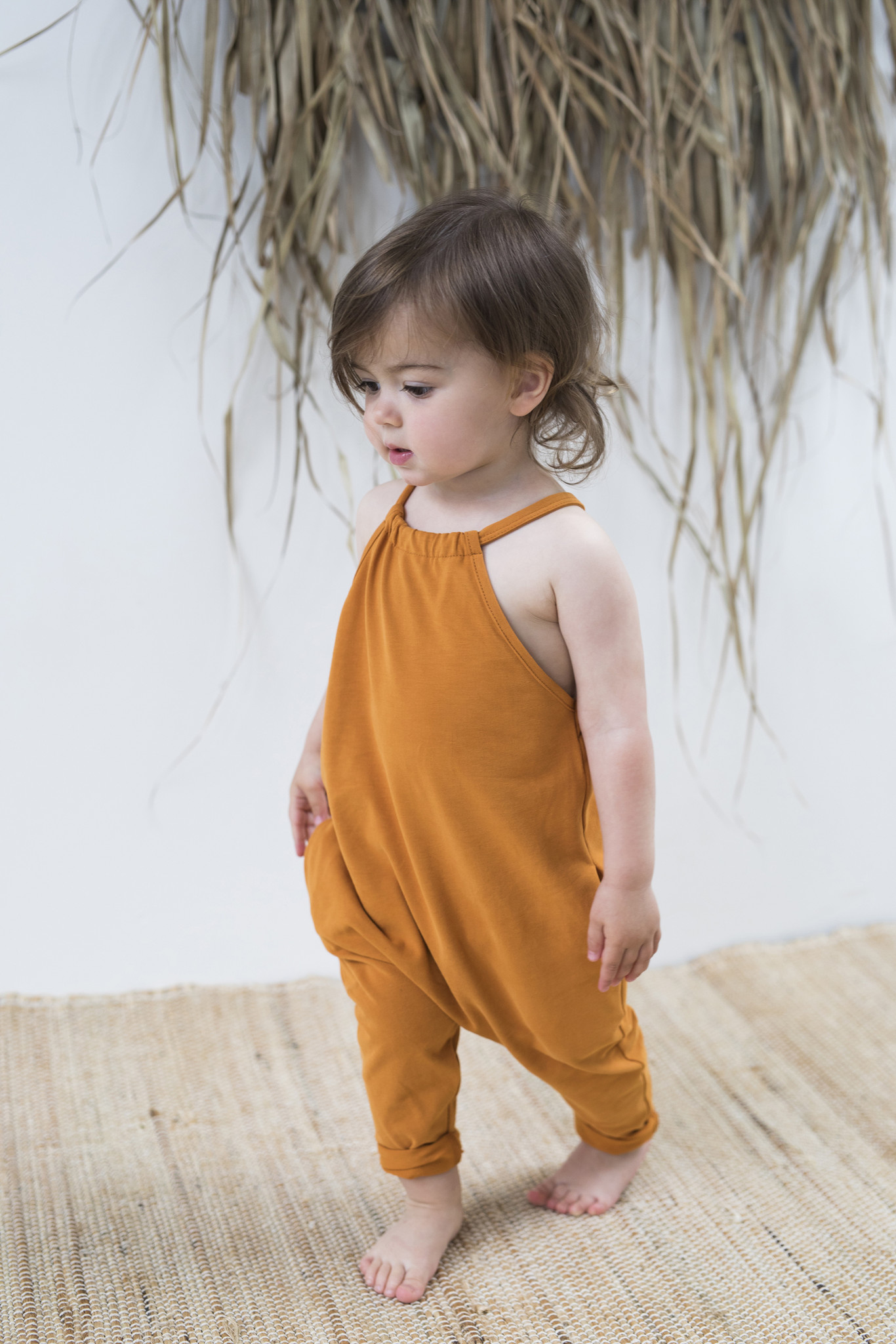 Gathered jumpsuit - Tangerine-2