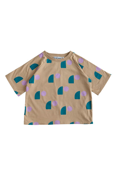 Oversized Tee - Tan Sail Print