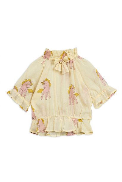 Unicorns woven bow blouse - Yellow