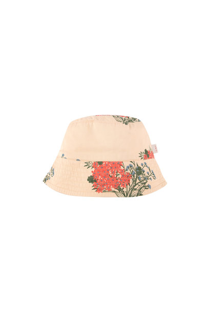 FLOWERS BUCKET HAT - Cappuccino / Red