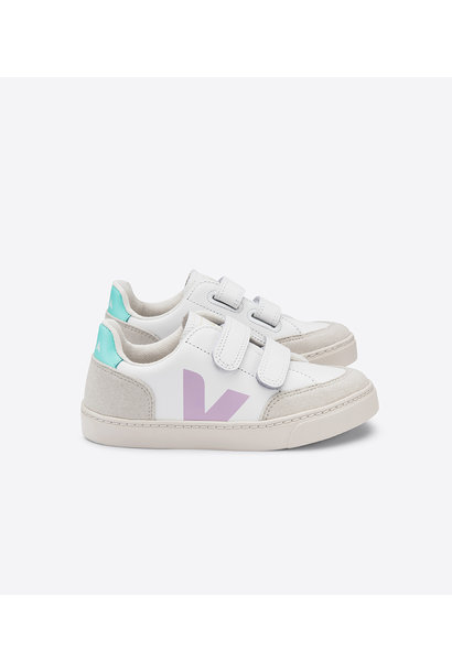 V12 Velcro Kid - Leather Extra White Parme Turquoise