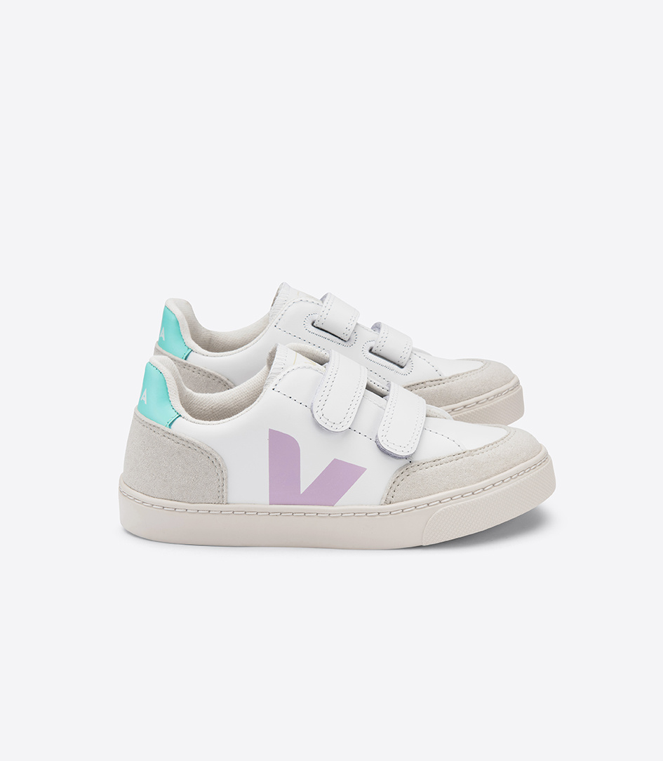 V12 Velcro Kid - Leather Extra White Parme Turquoise-1